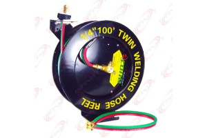 Auto Rewind Retractable Oxygen Acetylene Wall Welding Twin Hose Reel 100ft 1/4""