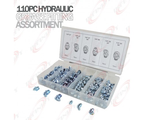 110PC SAE Hydraulic Grease Fitting Assortment Set Lube Lubrication Zerk Fittings