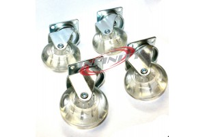 "2"" SWIVEL CASTER CLEAR WHEELS METAL BASE WITH BEARINGS SET"