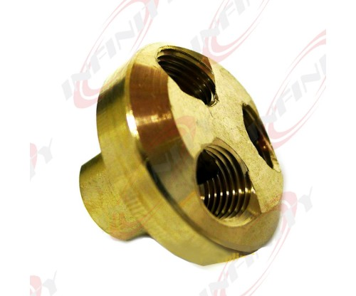 "3 Way 1/4"" Air Divider Manifold 4 Compressors Couplers Inlet/Outlets Solid Brass"