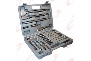 17PC SDS PLUS DRILL BITS & CHISEL ROTARY HAMMER BITS W CASE