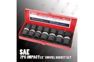 "1/2"" Dr 7PC Swivel Shallow Air Impact Univ-Joint Socket SAE Tools Set"