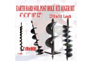 "Earth Post Hole Ice Drill Digger Auger Bits Bit 4, 6, 8, 10, 12"" @ 32"" or 39"