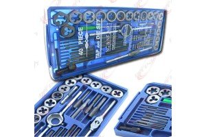 BLUE CASE 40 Pc SAE Tap And Die Set Bolt Screw Extractor/Puller Kit New Removal