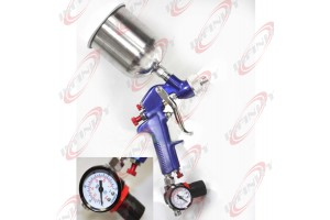 1.7mm Air HVLP Gravity Feed Spray Paint Gun W/ Gauge Regulator & 600cc Fluid Cup