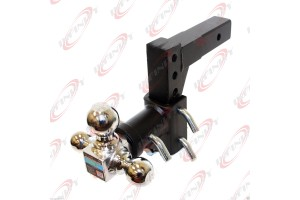 "Tri-Ball Swivel 13"" Adjustable Trailer Tow Hitch Mount 2"" Receivers Solid Shank"