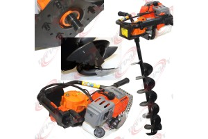 "52cc 2.3HP Gas Powered Ice Post Hole Digger W/ 6"" Ice Dril Bit w/Sharp Blades"