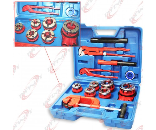10PC Manual Ratchet Pipe Threader Kit 6 Threading Dies Pipe Cutter & Wrenches