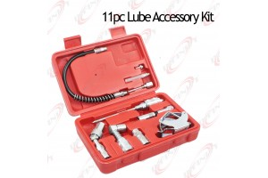 "11 pcs Heavy-Duty Lube Accessory Kit Grease Lubrication 12"" flexible hose Needle"