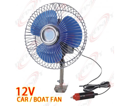 "8"" 12 Volt Auto Cooling Ocillating Air Fan For Truck Car Boat"
