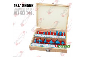 "1/4"" Shank 15pc Router Bit Wood Working Power Tools Shop Carbide Tipped Set"