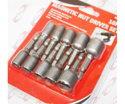 "1/4"" Shank 10pc Magnetic Dual Metric MM & Standard SAENut Driver Tool Set"