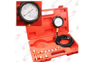 500psi 13pc Engine Oil Pressure Tester Gauge Diagnostic Test Kit w/ Case