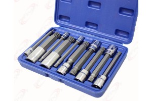 "10PC 4"" Long Shank XZN Triple Square Spline Bit Socket Set S2 Steel Metric Size"