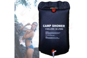 5 Gallons Camping Shower Bag Water Carrier Solar Heating Bathe Outdoor Hiking