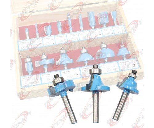 "1/4"" Shank x 15pc Router Bit Set Working Power Tools Shop Carbide Tipped w/Case"