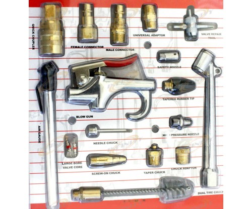 18pc Air Tool Compressor Blow Gun Chuck Pneumatic Accessory Kit