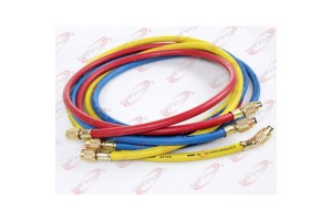 "60"" R410A High-Pressure Refrigerant Charging Color Hoses 800psi 1/4"" 3/8"" Flare"
