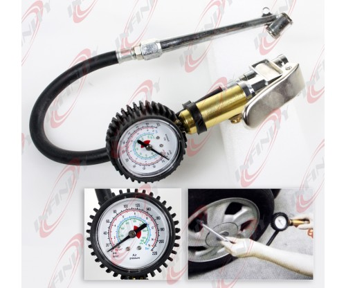 "6 "" Air Tire Inflator With Dial Gauge Dual For Chuck Cars & Trucks Tires 220PSI"