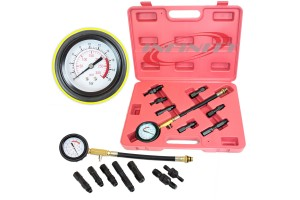 7PCS PETROL AUTO ENGINE COMPRESSION TESTER KIT ADAPTIVE W/ 300PSI GAUGE CP103414