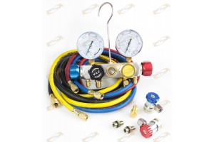 "4 Way A/C Manifold Gauge Set R410a R22 R134a w/Hoses+ Coupler Adapters +1/2"" ACME"