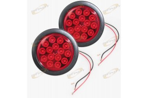 "1 PAIR 4"" Round 15 LED Signal Stop Turn Tail Light Flange Mount Kits 12v 24v"