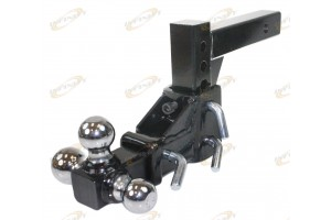 3 Ball Adjustable Vertical Travel Solid Raise Drop Tri-Ball Tow Hitch Mount 2""