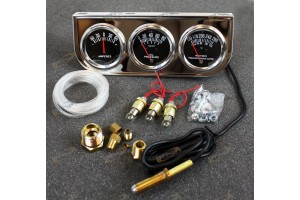 2 '' Chrome Black Faced Mechanical Oil Pressure Water Voltage Triple Gauge Kit