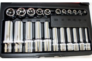 "22 PC 1/4"" & 3/8"" DR. FEMALE TORX SOCKET SET PRO."