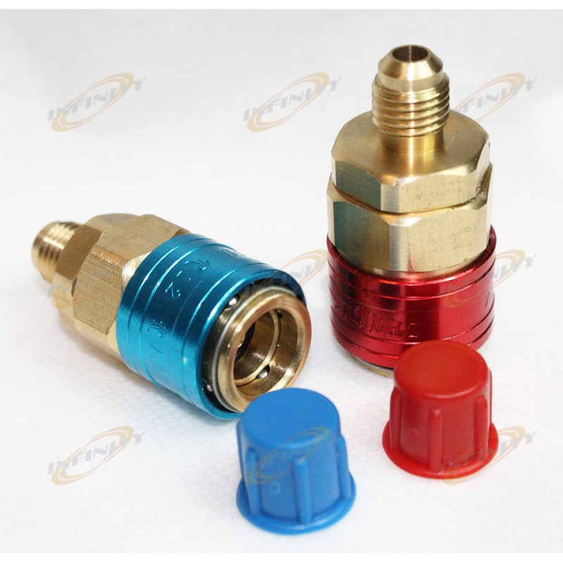 Automotive R134a Quick Couplers Bass Adapters Low /& High Side Auto AC Manifold
