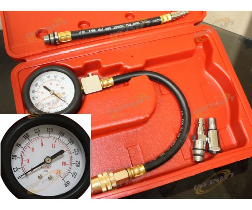 5pcs Gas Engine Compression Tester Testing Gauge Kit Test Cylinder Tester