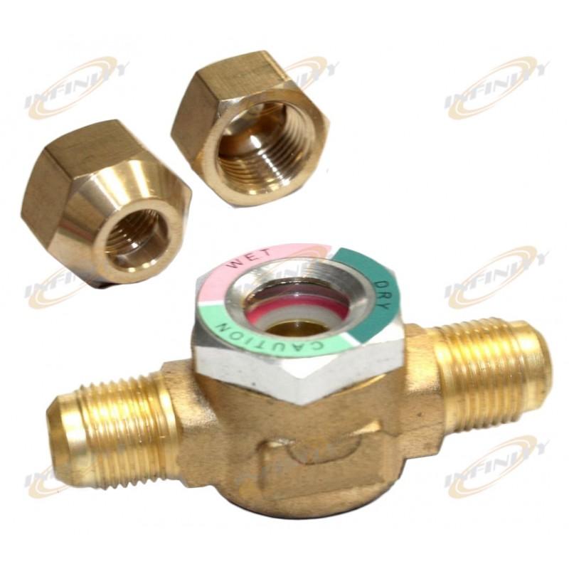 Hvac ac sight glass w moisture indicator all brass quot o