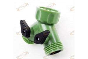 2-Way Garden Hose Connector Splitter Y Connector Water Valves SHUT OFF PRESSURE