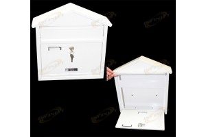 White 20 Gauge Steel Construction Wall Mount Mail Box With 2 Keys