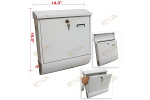 Wall Mount White Mail Box w/ Retrieval Door & 2 Keys Made Of Steel 14x17x4""