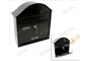 Wall Mount Black Mail Box w/ Retrieval Door & 2 Keys Made Of Steel