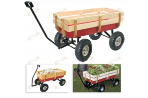 "200LB All Terrain Pull Cargo Wagon RED w/Wood Railing 10"" Air Tires Children KID"