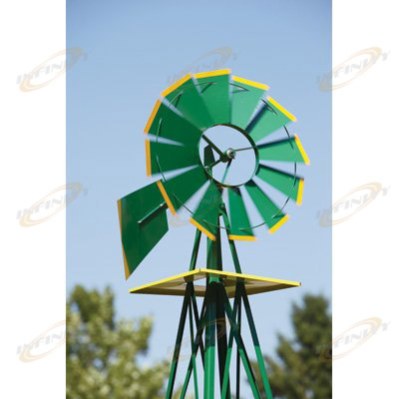 Elegant 8FT Green Metal Windmill Yard Garden Decoration Weather Rust Resistant Wind  Mill