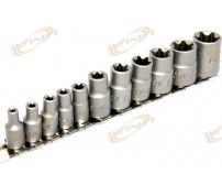 11 pc Torx Star Bit Female E Socket Set E4, 5, 6, 7, 8, 10, 12, 14, 16, 18, 20