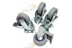 "4 PC 3"" CASTER SWIVEL WHEELS W/ BALL BEARINGS + BRAKES for MATERIAL HANDLING"