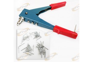 2 Way Blind 60pc Gutter Pop Rivet Gun Hand Riveter Set Repair Tool