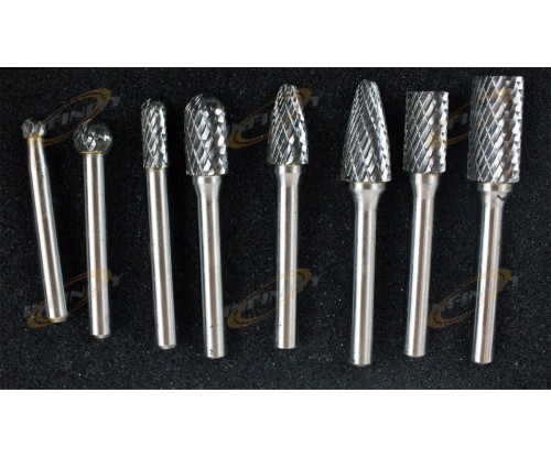 "1/4"" Shank 8pc Double Cut Carbide Rotary Burr Set With Aluminum Case Neiko USA"