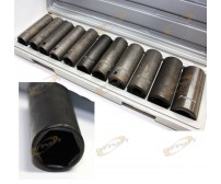 "12pcs 1/2"" Deep Impact Socket Set SAE Size 3/8"" to 1"""