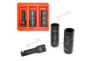 3 PCS MM+SAE FLIP AIR IMPACT SOCKET LUG NUT / RIMS SET