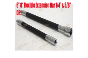"8"" 6"" Flexible Extension Bar 1/4"" & 3/8"" Dr Auto Tool Mechanic Extend Wrench"