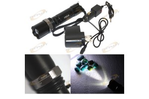 Rechargeable 3W CREE LED 500 Lumen Dimmeable Flashlight Flashing SOS Light