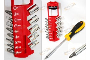 15 PC Screwdriver Construction Belt Holder On Tool Kit Set W/ Bits And Belt Loop