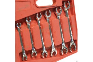 6 pc SAE Flare Nut Wrench Set W/Molded Carring Case