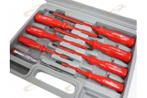 7PC INSULATED SCREWDRIVER & MAINS TESTER HAND TOOL SET w/CASE