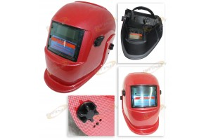 Carbon Fiber Red Solar Power Auto Darkening Welding Grinding Filter Helmet Weld